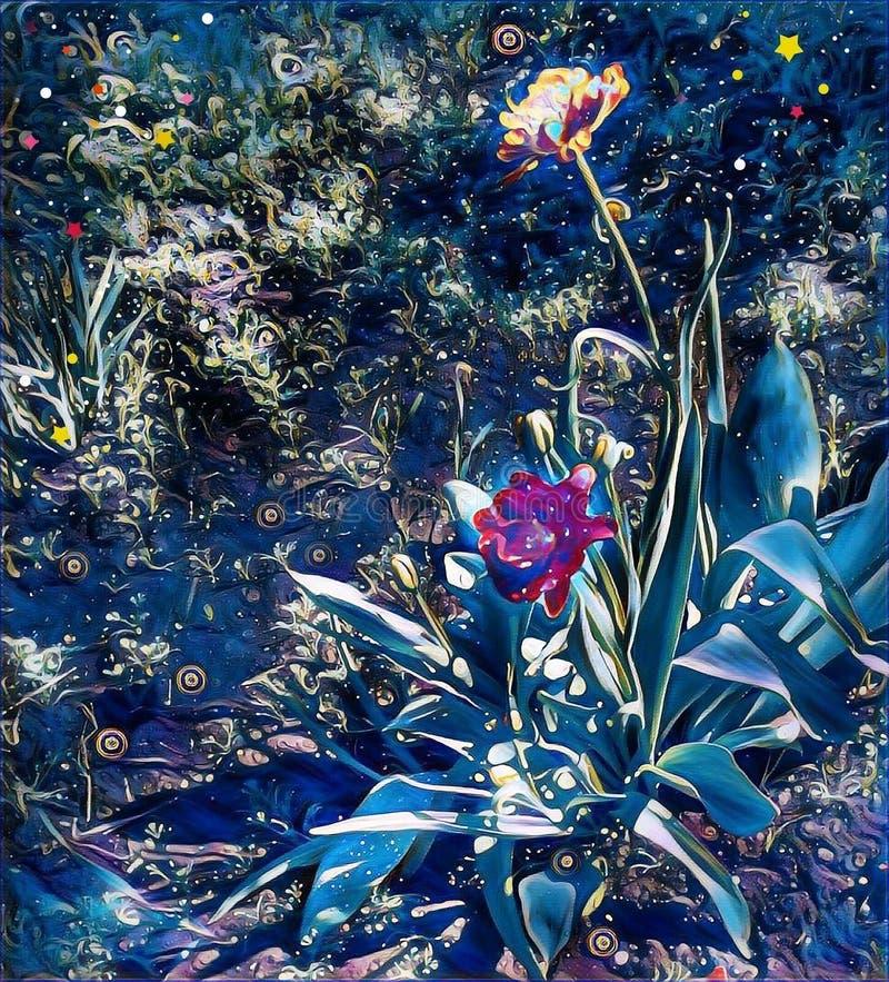 Härliga mystiska nattblommor i trädgården vektor illustrationer
