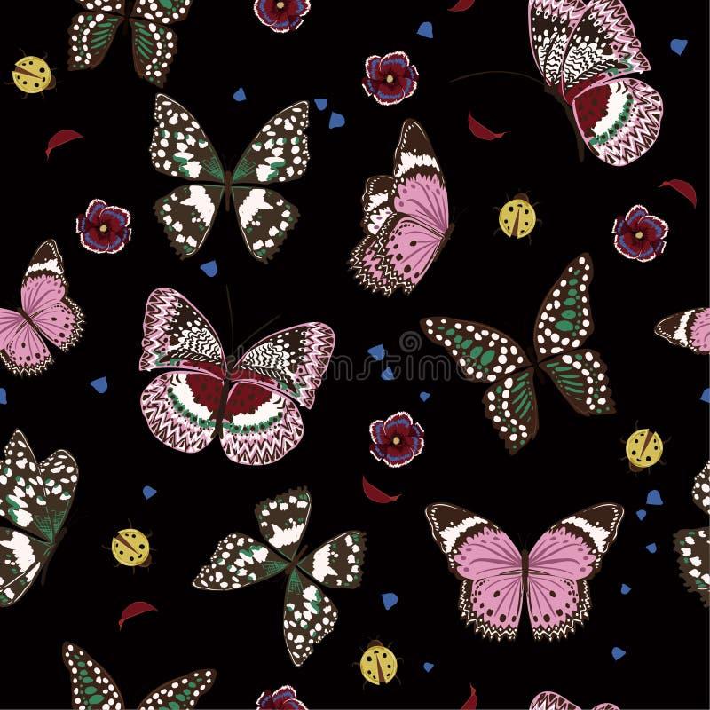 Härliga nattfjärilar som flyger, damfelet, det sömlösa krypet, klappar royaltyfri illustrationer