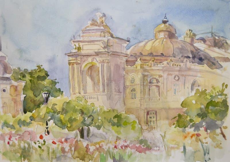 Härliga Odessa Opera House som målas med vattenfärgen royaltyfri illustrationer