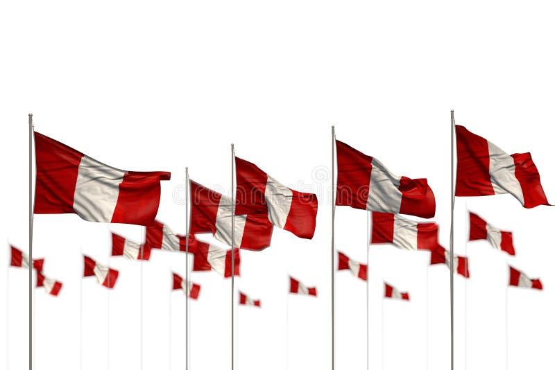 Härliga Peru isolerade flaggor som förlades i rad med bokeh och stället för ditt innehåll - någon illustration för ferieflagga 3d vektor illustrationer