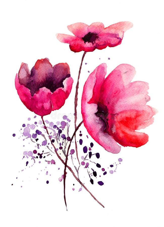 Härliga Röda Blommor Royaltyfri Fotografi