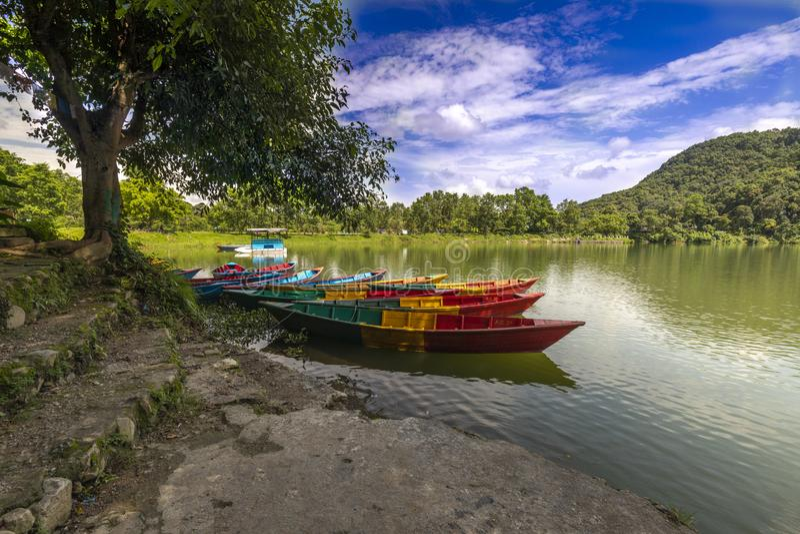 Härliga radfartyg i Phewa sjön och blå himmel på bakgrund royaltyfri fotografi