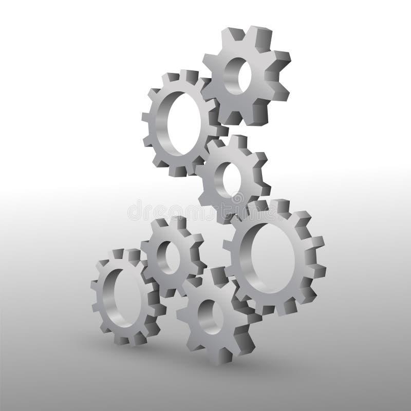 Härliga realistiska kugghjul för metall 3D på vit bakgrund stock illustrationer