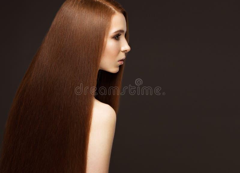 Härliga Redheadgirl med ett perfekt slätt hår- och klassikersmink Härlig le flicka arkivbilder