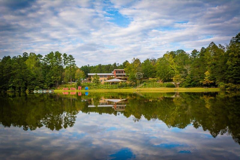 Härliga reflexioner på sjön Norman State Park, North Carolina arkivbild