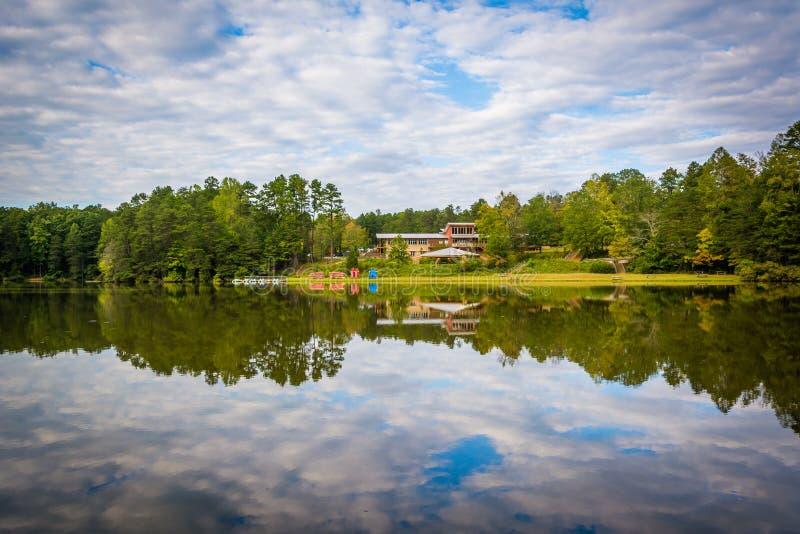 Härliga reflexioner på sjön Norman State Park, North Carolina royaltyfria foton