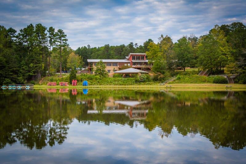 Härliga reflexioner på sjön Norman State Park, North Carolina royaltyfri bild