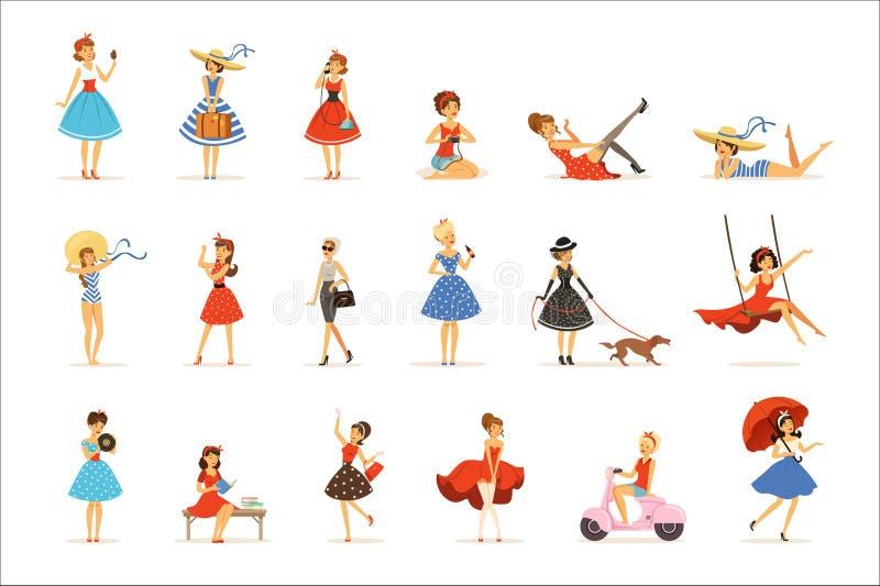 Härliga retro flickatecken ställde in, unga kvinnor som bär klänningar i färgrika vektorillustrationer för retro stil vektor illustrationer