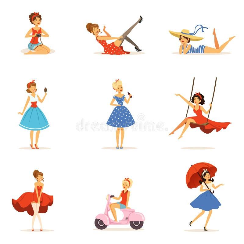 Härliga retro flickatecken ställde in, unga kvinnor som bär klänningar i färgrika vektorillustrationer för retro stil royaltyfri illustrationer