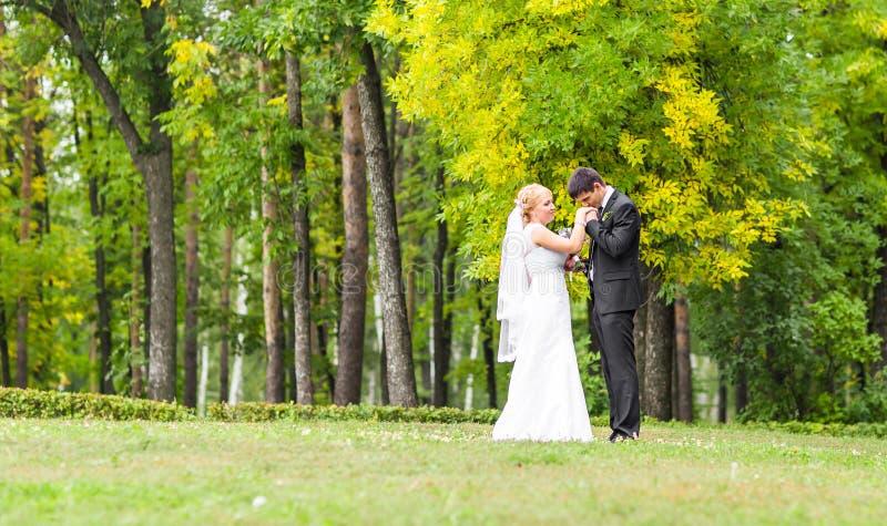 Härliga romantiska brölloppar som utomhus kysser och omfamnar arkivfoton