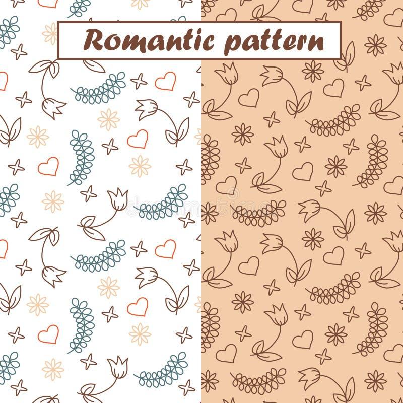 Härliga romantiska modeller ställde in med blommor, hjärtor och sidor royaltyfri illustrationer