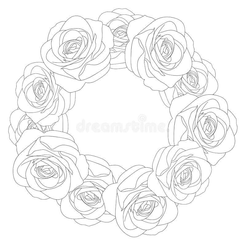 Härliga Rose Outline Wreath - Rosa som isoleras på vit bakgrund vektor för valentin för pardagillustration älska också vektor för stock illustrationer