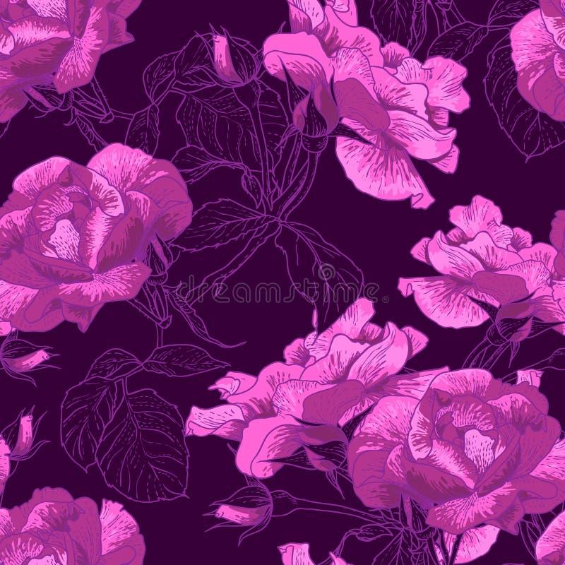 Härliga sömlösa Rose Background vektor illustrationer