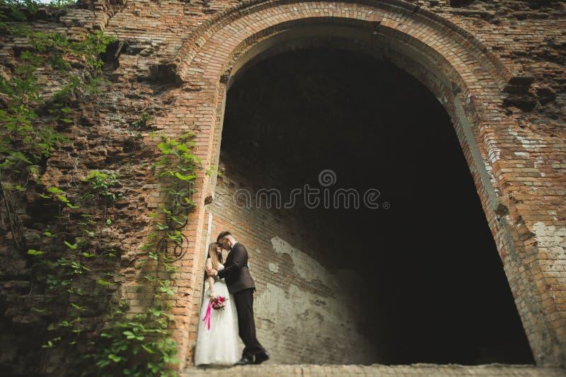 Härliga saganygift personpar som kramar nära gammal medeltida slott arkivfoto