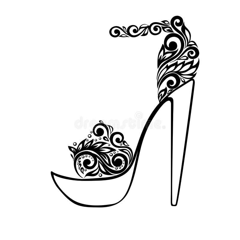 Härliga sandaler som dekoreras med svartvitt  royaltyfri illustrationer