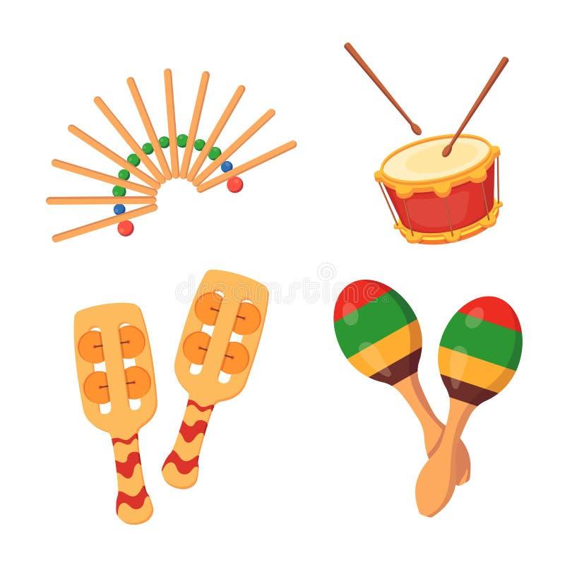 Härliga slagverk-oväsen musikinstrument: pladdrar vals, maracas, med dekorativa prydnader stock illustrationer