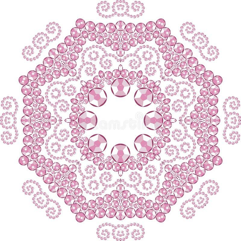 Härliga smycken, medaljong, brosch, garnering på halsen, mandala, ram Modemodelltryck från briljanta stenar, rosa appliq stock illustrationer