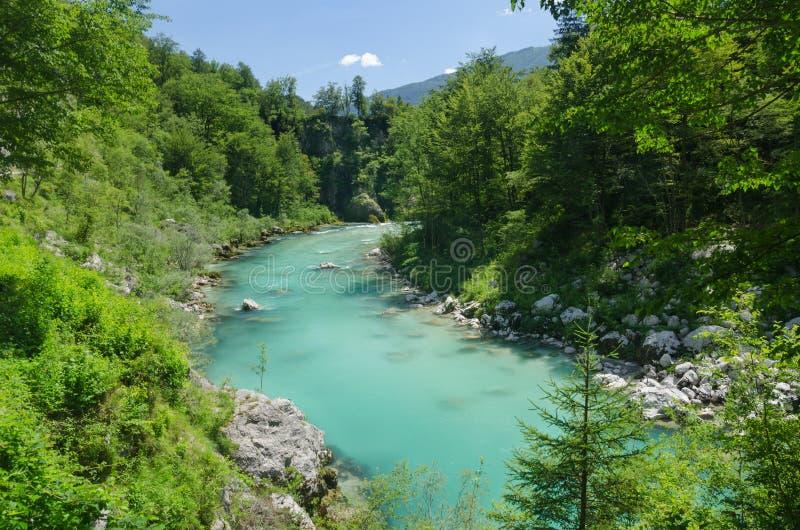 Härliga Soca River Valley i sommar, Slovenien arkivbilder