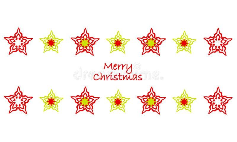 Härliga stjärnor och snöflingor Design för glad jul royaltyfri illustrationer