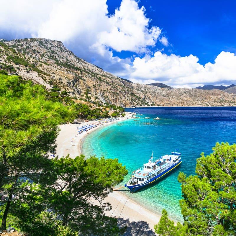 härliga stränder av Grekland, Karpathos arkivfoton