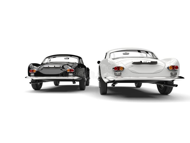 Härliga svartvita tappningsportbilar - bakre sikt stock illustrationer