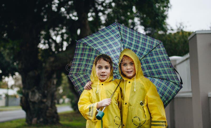 Härliga systrar under ett paraply utomhus royaltyfri foto
