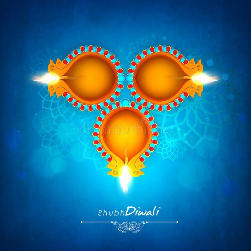 Härliga tända lampor för lycklig Diwali beröm vektor illustrationer