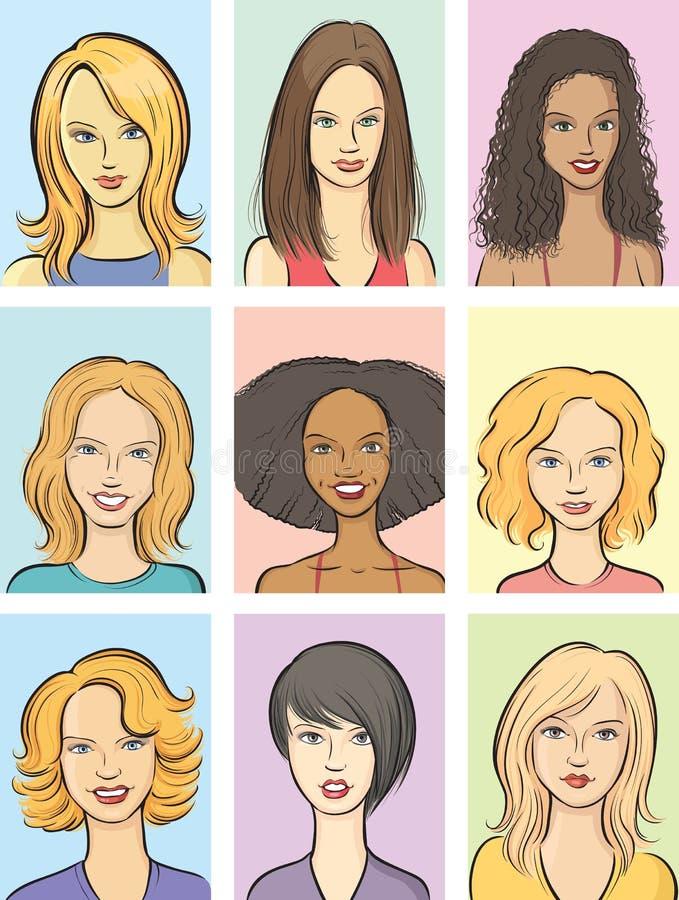 härliga tecknad filmframsidor ställde in kvinnor stock illustrationer