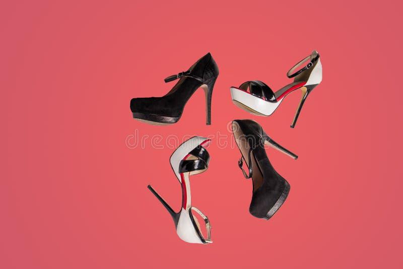Härliga trendiga röda svartvita skor med häl royaltyfri fotografi