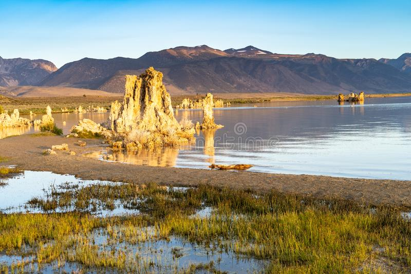 Härliga tufabildande på den mono sjön med lugna vatten under soluppgång Östlig toppig bergskedja Nevada California royaltyfri foto