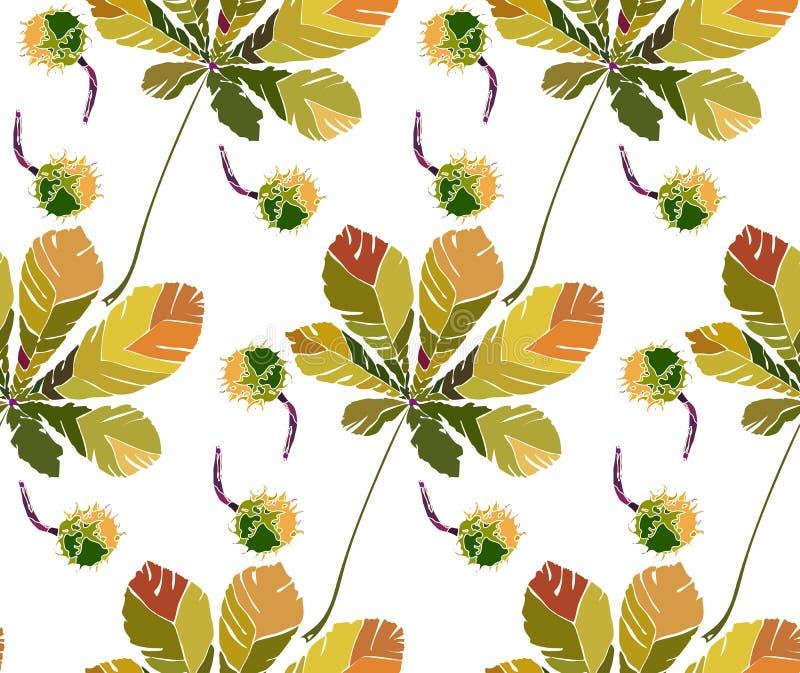 Härliga underbara grafiska ljusa blom- växt- sidor och kastanjer för höstgräsplankastanj mönstrar vektorillustrationen stock illustrationer