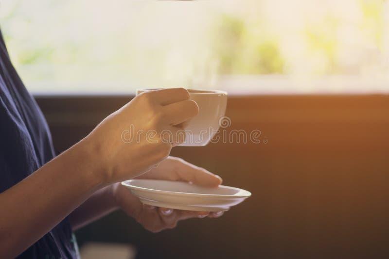 Härliga unga asiatiska kvinnahänder rymmer ett varmt vitt kopp kaffeanseende bredvid ett fönster med solljus royaltyfri bild