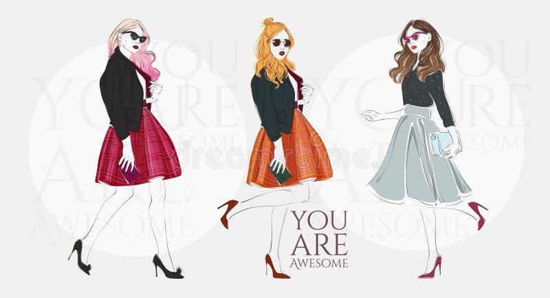 Härliga unga kvinnor i retro kläder för ett mode med påsen på höga häl Tecknad illustration för vektor hand royaltyfri illustrationer