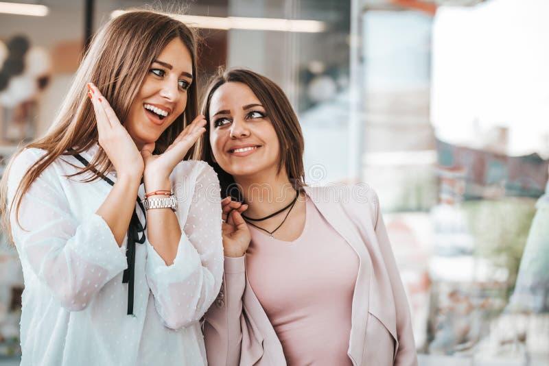 Härliga unga kvinnor som tillsammans tycker om i shopping och att ha gyckel arkivfoto