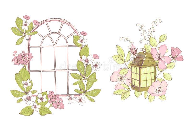 Härliga vektorsammansättningar, lösa blommor, fönster, lampa, gammalt G stock illustrationer