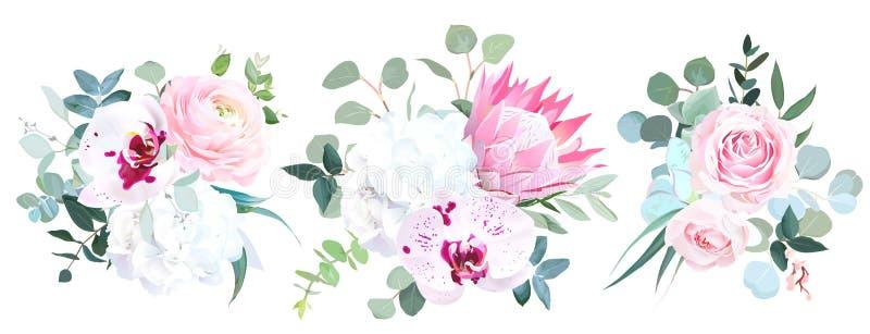 Härliga vinterbröllopblommor vattenfärg för stil för bambuillustration japansk royaltyfri illustrationer