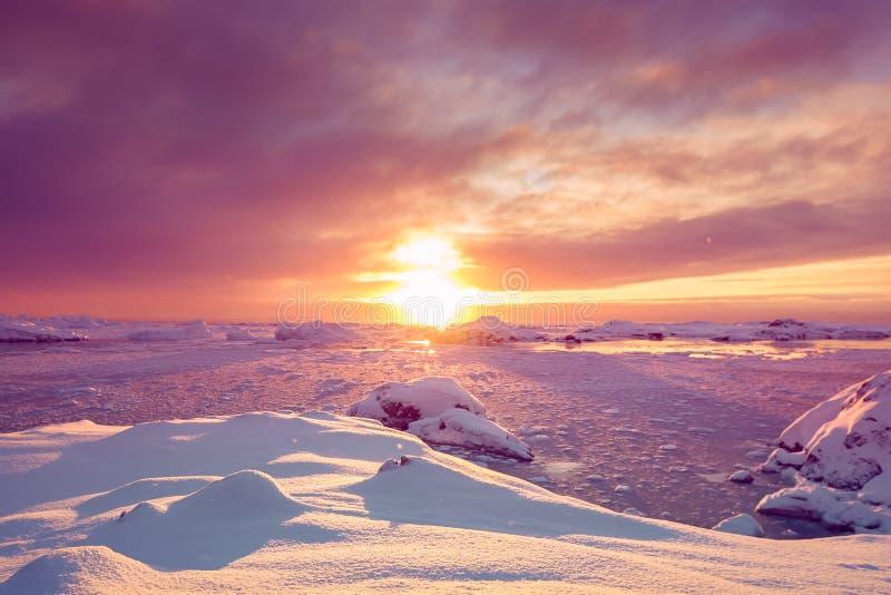 Härliga violetta snö-korkade berg i Antarktis arkivfoton