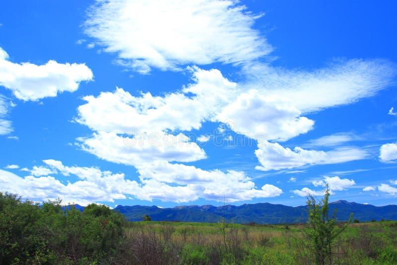 Härliga vita moln på klar blå himmel arkivbild