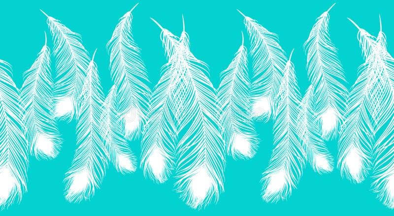 Härliga vita påfågelfjädrar på blå bakgrund vektor illustrationer