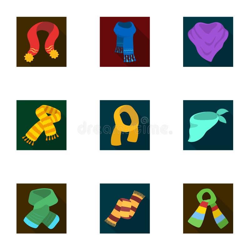 Härliga woolen silke-färgade varma scarves av sjalar scarves och shawlessymbol i uppsättningsamling på plan stilvektor vektor illustrationer