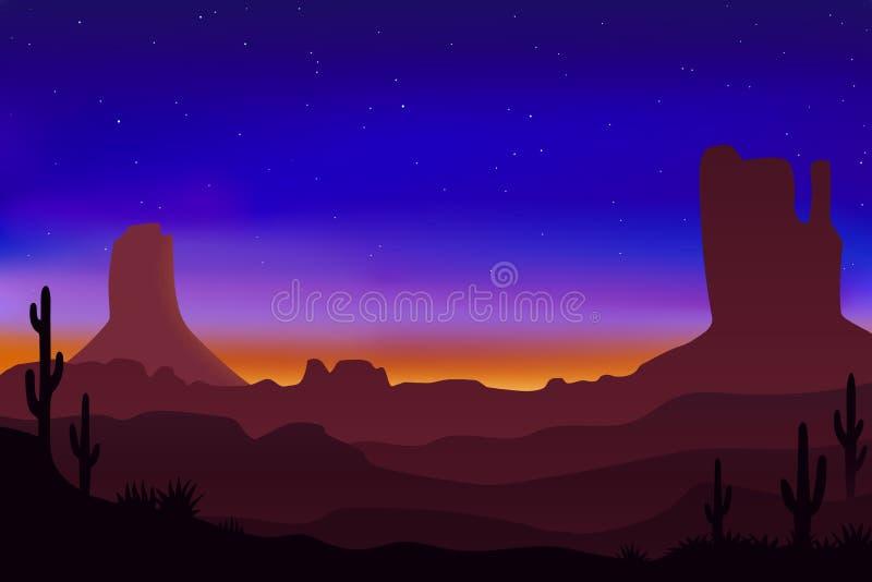 Härligt ökenlandskap med färgrik himmel och soluppgång, vektorillustration stock illustrationer
