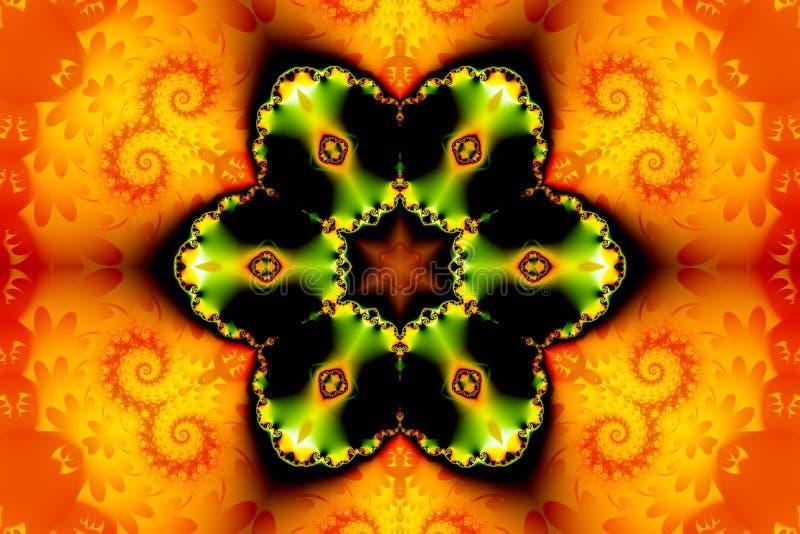 Härligt abstrakt diagram som består av en fractalblomma och en stjärna på en orange bakgrund av fractalkrullning vektor illustrationer