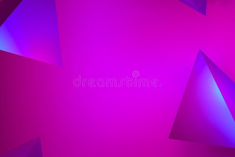 Härligt abstrakt rosa neonglöd, neonpyramidbakgrunder rosa och lila glöd på tetrahedrons - tolkning 3D arkivfoton