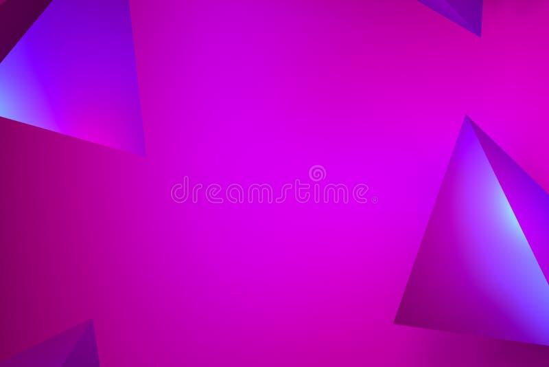 Härligt abstrakt rosa neonglöd, neonpyramidbakgrunder rosa och lila glöd på tetrahedrons - tolkning 3D arkivbilder