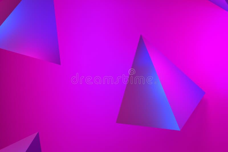 Härligt abstrakt rosa neonglöd, neonpyramidbakgrunder rosa och lila glöd på tetrahedrons - tolkning 3D royaltyfri foto