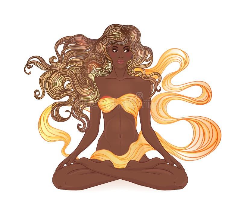 Härligt afrikansk amerikanflickasammanträde i Lotus poserar med ornat vektor illustrationer