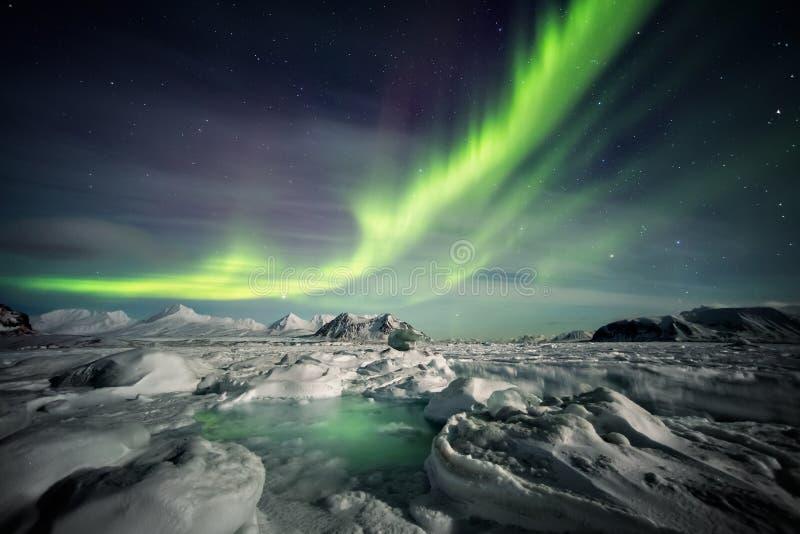 Härligt arktiskt fjordlandskap med nordliga ljus - Spitsbergen, Svalbard royaltyfria foton