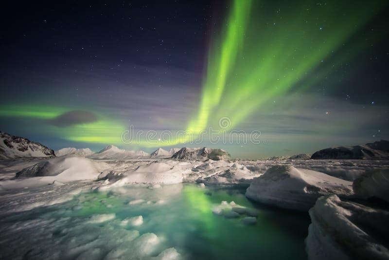 Härligt arktiskt glaciärlandskap med nordliga ljus - Spitsbergen, Svalbard royaltyfri foto