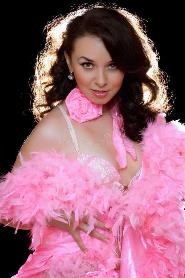 härligt barn för pink för brunettdansklänning royaltyfri foto