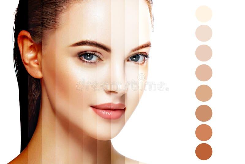 Härligt begrepp för omsorg för hud för skönhet för kvinnaframsidastående Isolerat på vit royaltyfri fotografi